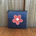 Upcycled Denim Purse - Red Flower