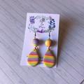 Shimmery striped tear drops; striped bead; purple, yellow, green, pink