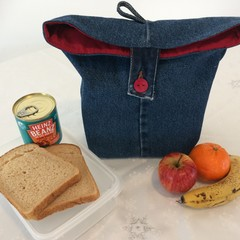 "LUNCH BAG UPCYCLED From Jeans Red Lining Width 29cm (11.5"") x Depth 35cm (13.75"""