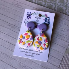 Shimmery white tear drops, petal-shaped, colourful terrazzo earrings