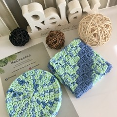 Limited Edition-Body Scrubbie & Face Scrubbie set in Mint Blue
