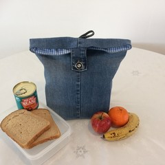 "LUNCH BAG UPCYCLED From Jeans Blue Check Lining Width 29cm (11.5"") x Depth 35cm"