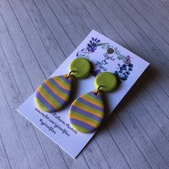 Shimmery striped tear drops; green stud-top; purple, yellow, green