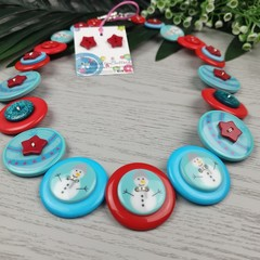 CHRISTMAS - Snowmen - Button Necklace and Earrings