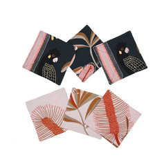 Australian native reversible coaster - BLACK COCKATOO/PINK FLOWERS