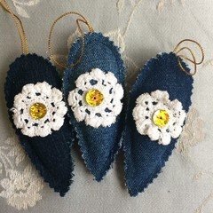 Christmas Decoration Upcycled Denim & Doilies 9.5cm Drop Set of 3 With Sequins