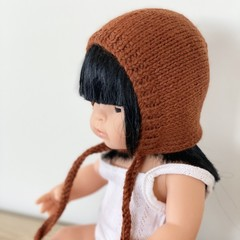 Miniland Rust Dolls Bonnet - size 38 cm - hand knitted in pure wool
