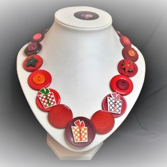 Christmas Button necklace - Christmas Gifts