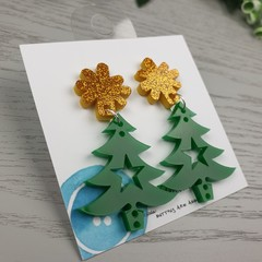Christmas Tree with Star Sparkle - Button - Glitter Stud Dangle earrings