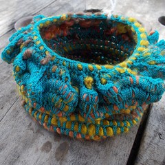 Ruffled pot crocheted from silk and vintage rayon. Handmade homeware great gift