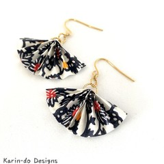 Origami  Fan (Ougi) Earrings  - White