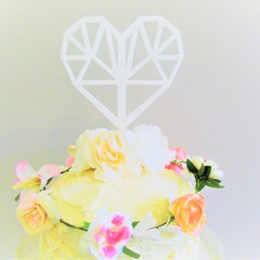 Love heart cake topper - Assorted materials