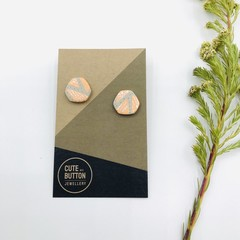 Hexagon Studs - Peaches