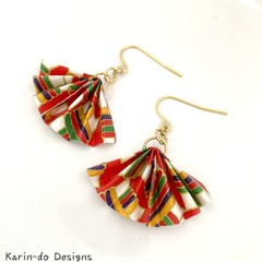 Origami  Fan (Ougi) Earrings  - Red