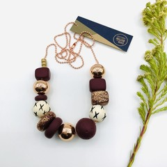 Glam Necklace - Burgundy (Free Pair of Studs included)