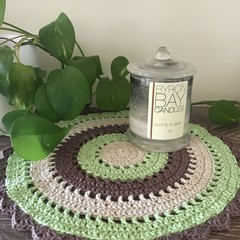 Modern Round Doily - Rainforest. - Ideal for Bedside table, side table and more