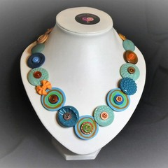 Blue Button necklace -  Teal Fantasy