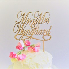 Mr & Mrs Custom Surname cake topper - Assorted materials