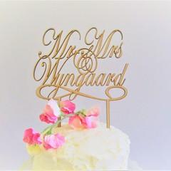 Mr & Mrs Custom Surname cake topper - Assorted materials