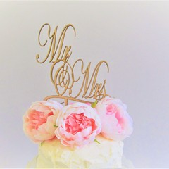 Mr & Mrs cake topper - Assorted materials