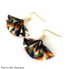 Origami  Fan (Ougi) Earrings  - Navy Blue
