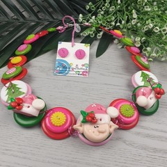 Pink Elf - Christmas - Necklace Buttons and Polymer - Jewellery - Earrings
