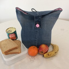 "LUNCH BAG UPCYCLED From Jeans Pink Check Lining Width 29.5cm (11.5"") x Depth 35c"
