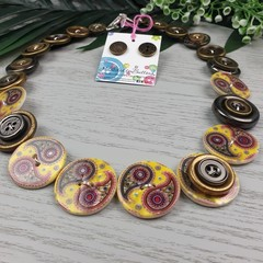 Paisley - Button Necklace - Button Earrings