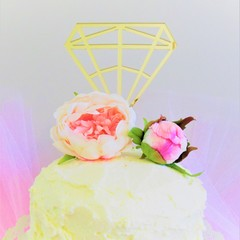 Diamond cake topper -  Assorted materials