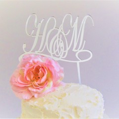 Double Initial cake topper - Custom made - Assorted materials