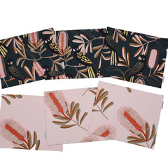 Australian native reversible placemat - Black Cockatoo/pink flowers