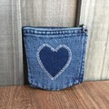 Upcycled denim purse - Heart