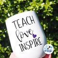 Personalised Teacher Swig Tumbler. Teach Love Inspire. Coffee Tea Wine Gift.
