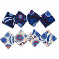 Australian native floral reversible coaster - blue flowers and gumnuts