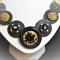 Vintage black and gold button necklace - Black Beauty.