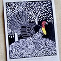 Australian Brush-turkey Lino Cut Print / Australian Bird / Scrub turkey