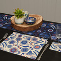 Australian native floral reversible table runner - blue flowers and gumnuts