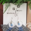 Two toned recycled cotton macrame sterling silver earings