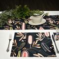 Australian native reversible table runner - Black Cockatoo/pink flower