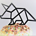 Dinosaur cake topper - Assorted materials -Triceratops