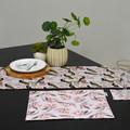 Australian native reversible table runner - Black Cockatoo/pink blossoms