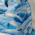 Large Drawstring Bag - Dolphins Design