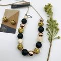 Mustard Leopard Hooks - Rose Gold