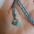 Braided turquoise stone chip necklace