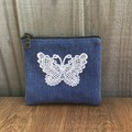 Upcycled Denim Purse - Lace Butterfly