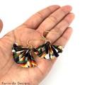 Origami  Fan (Ougi) Earrings  - Navy Blue