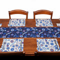 Australian native floral reversible placemat -blue flowers and gumnuts