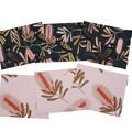 Australian native reversible placemat - Black Cockatoo/pink flowers