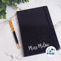 Black Personalised notebook & Silver with pink glitter pen. Teacher Journal