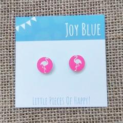 Acrylic stud earrings Flamingo